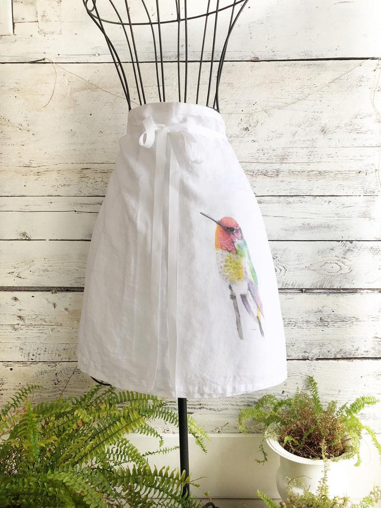 Hummingbird French Linen Cafe Apron