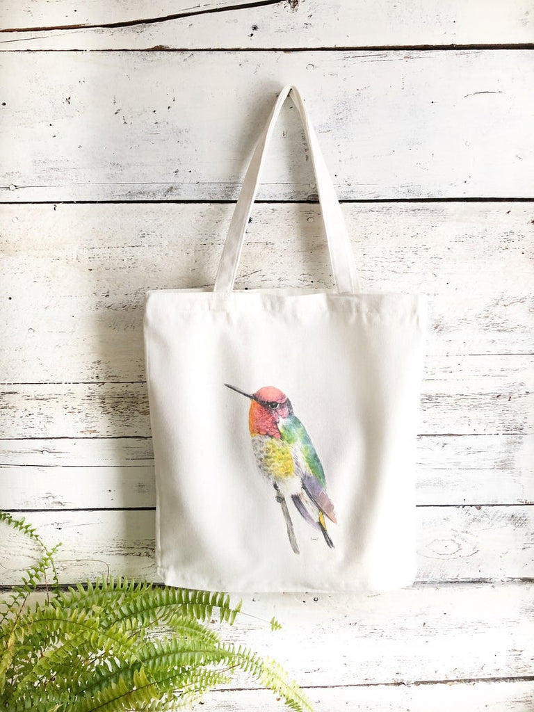 Canvas reusable tote bag with hummingbird art
