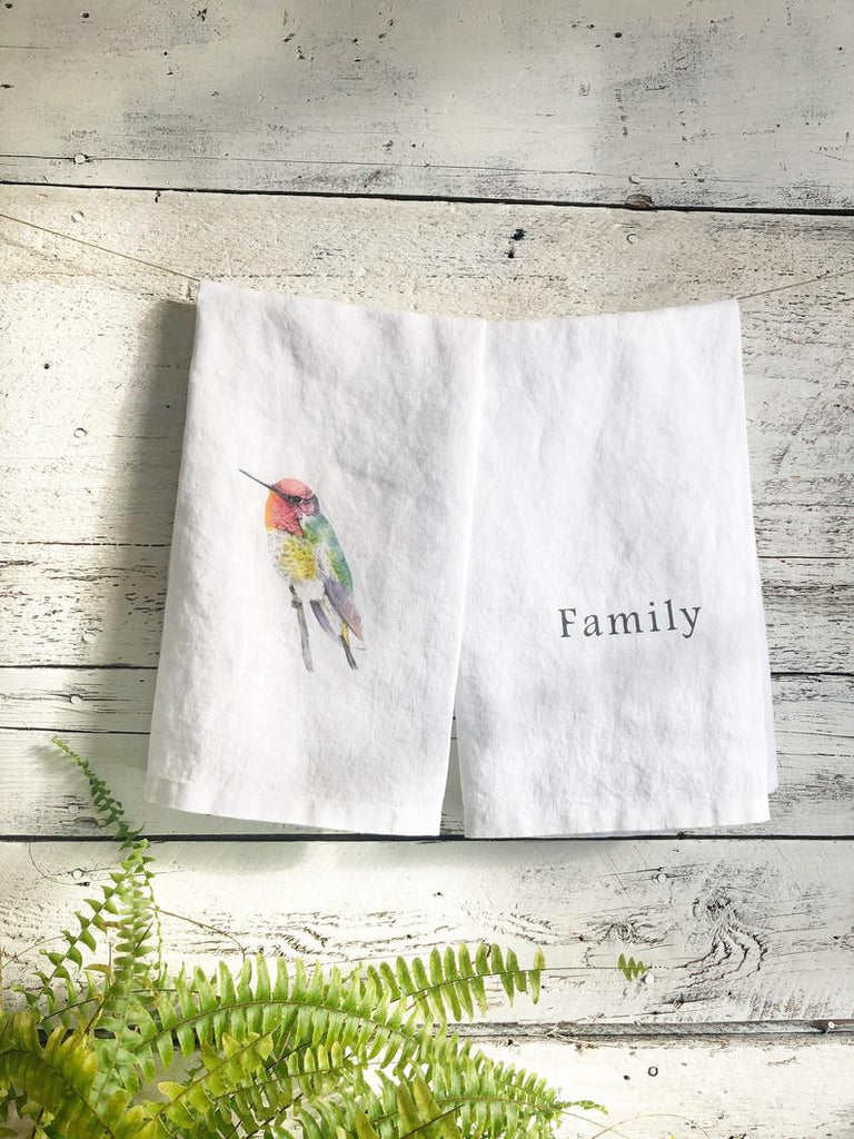 French Linen Tea Towels with Hummingbird