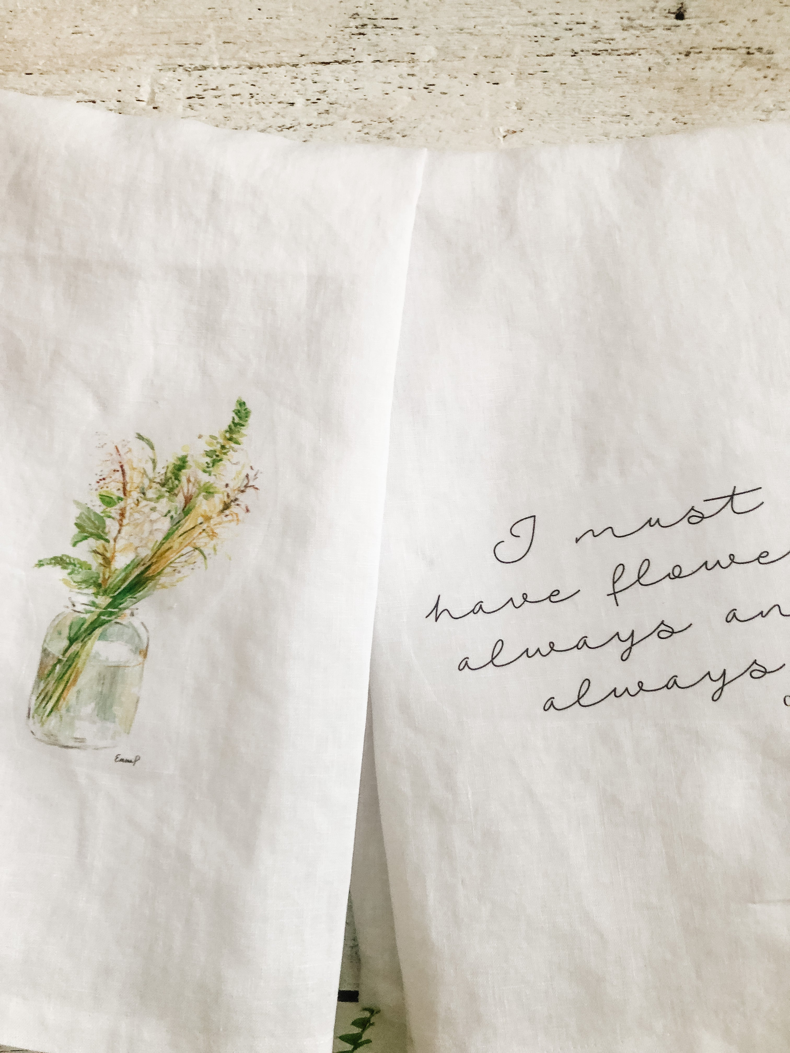 Tea towel set with wildflowers and Monet quote