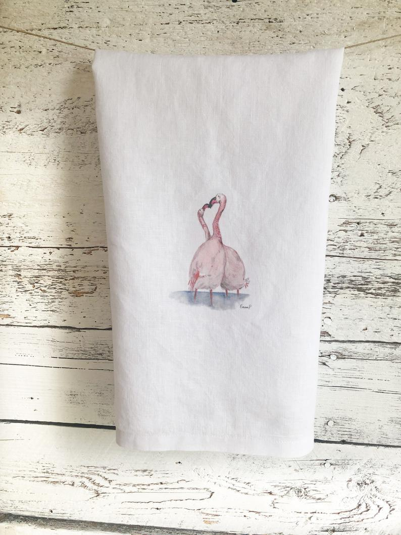 Pink Flamingo French Linen Tea Towel