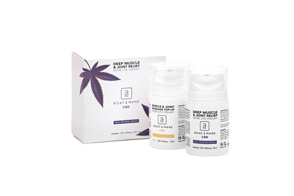 Boat & Mane CBD - 3,000mg Deep Muscle Relief and Recovery High-Strength Cream & 150mg Top-Up Cream