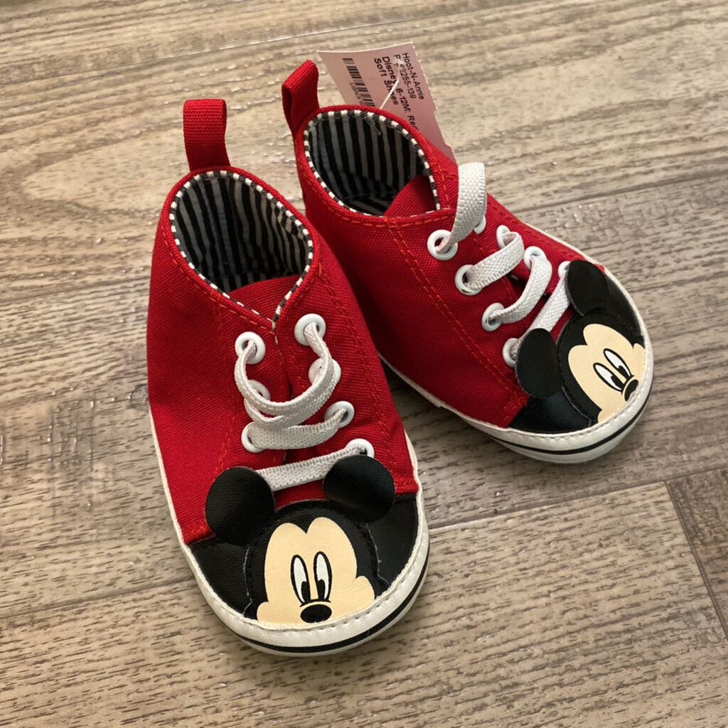 6-12M: Red Mickey Soft Shoes