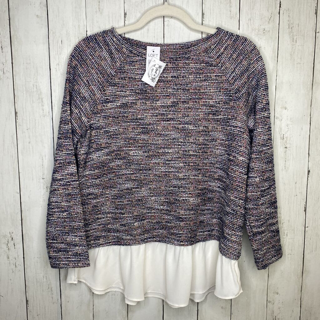 XS: NWT Colorful Tweed + White Chiffon Layered Sweater