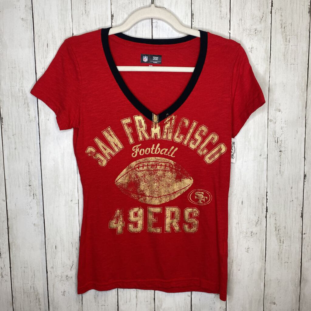 XS: Gold Shimmer San Francisco 49ers Red V-Neck Tee
