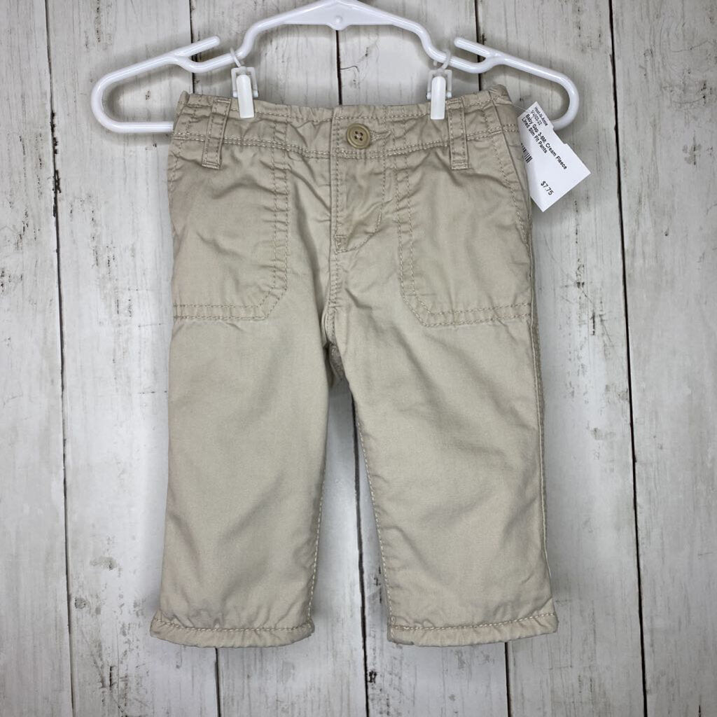 3-6M: Cream Fleece Lined Slim Fit Pants
