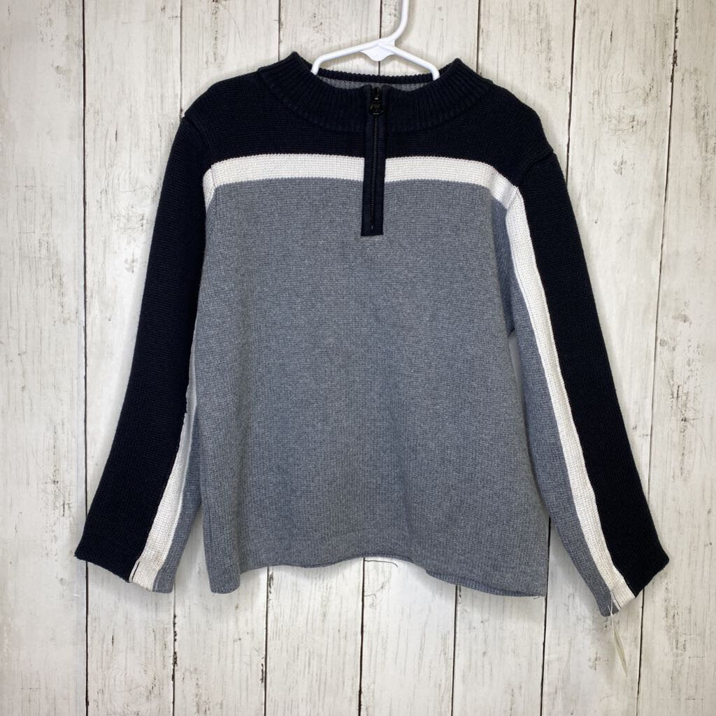 110/5-6: Black + Grey Quarter Zip Sweater