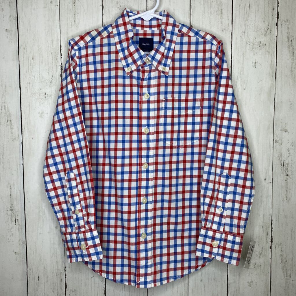 6/7: Red + Blue Checkered Button-Up