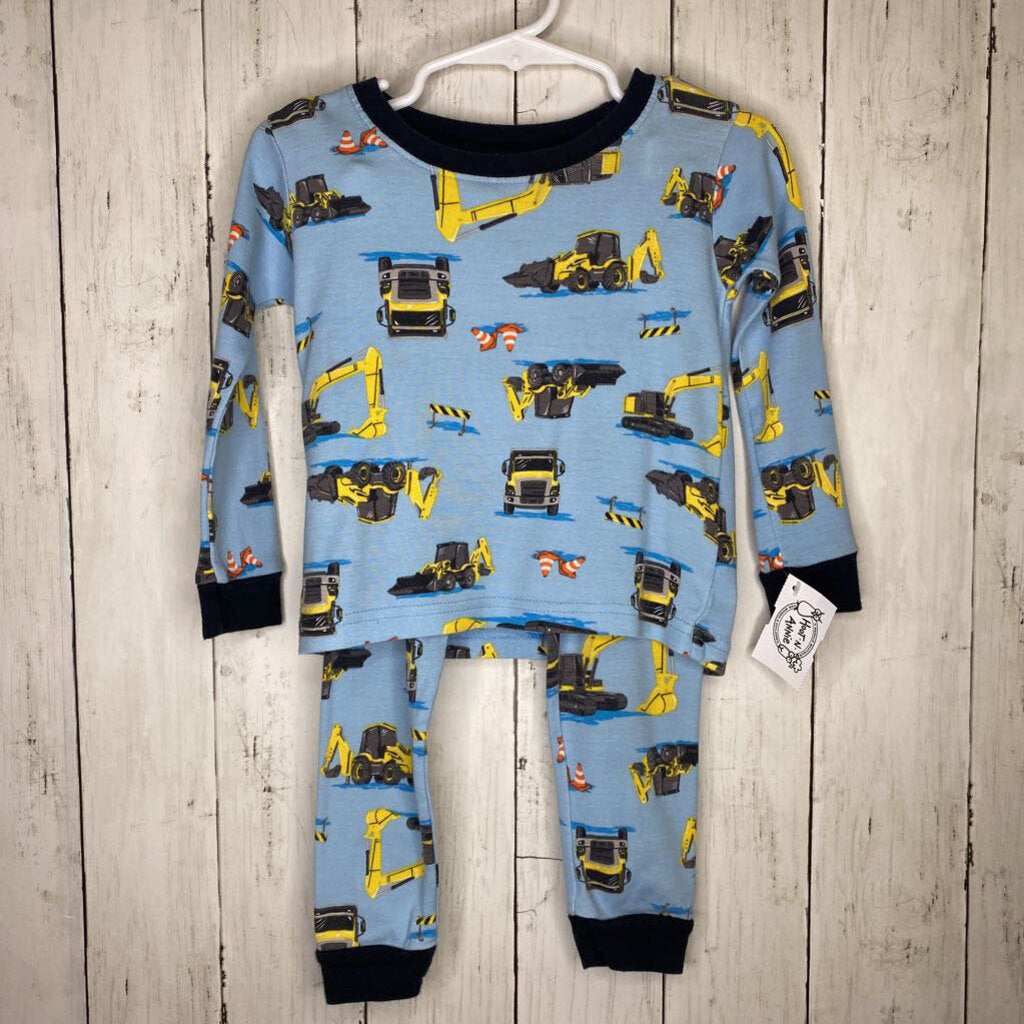 2T: Construction Print 2pc Blue Pajamas