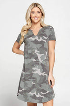 Load image into Gallery viewer, Camo Print Midi Maternity Dress with Curved Hem