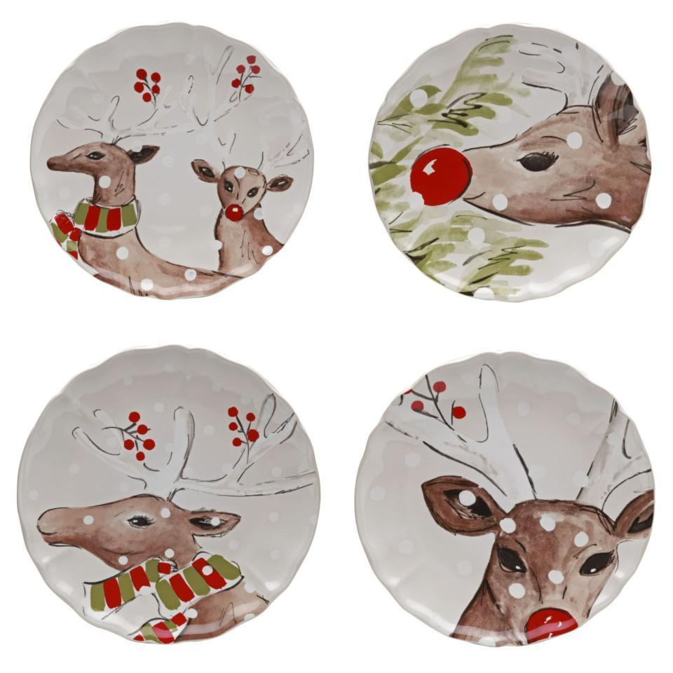 Casafina Deer Friends Set 4 Dinner Plates 11