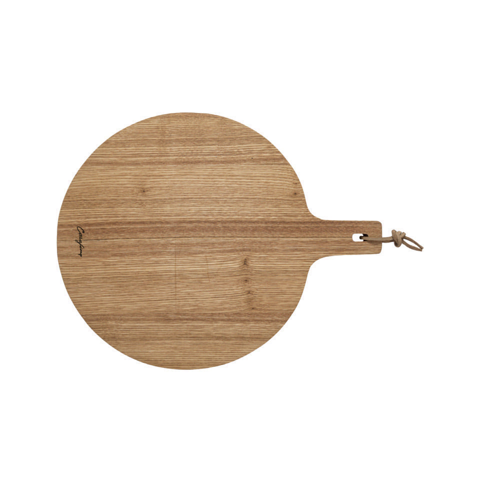 Casafina Oak Collection Oak Wood Round Cutting/Serving Board w/ Handle 14