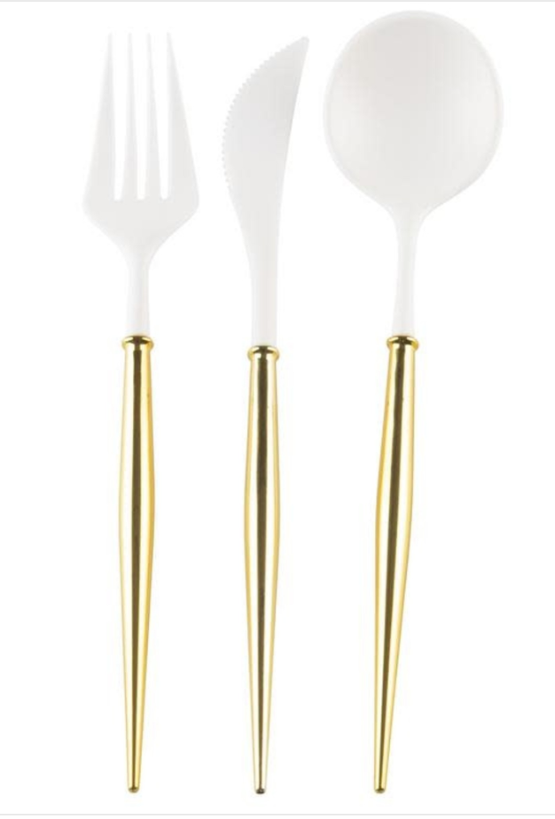 Cutlery White/Gold Handle S/24