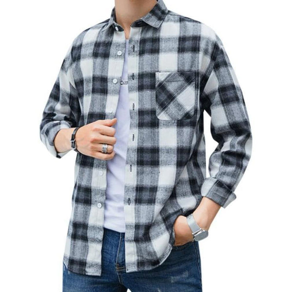Mens Casual Long Sleeve Button Front Plaid Shirt in Gray