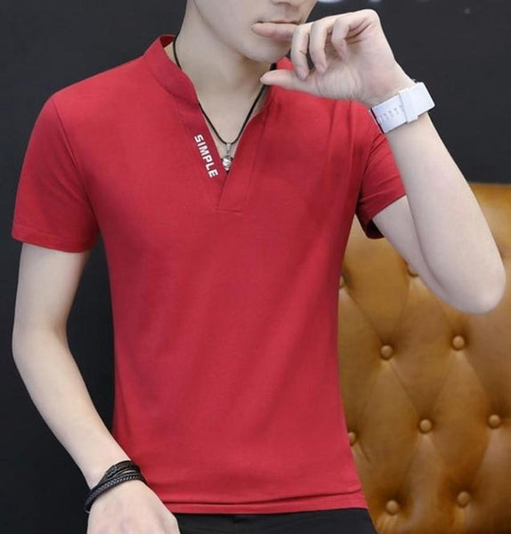 Mens Casual V Neck Slim Fit T Shirt