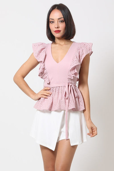 Crotchet Peplum Top W/ Self -front Tie