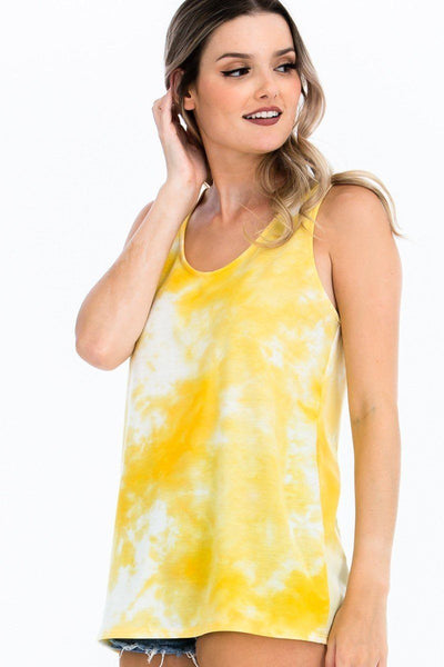Tie-dye Knit Top Featured In A Scoop Neckline And Sleeveless