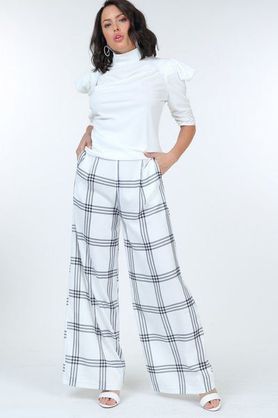 High Waist Plaid Print Wide Leg Pants