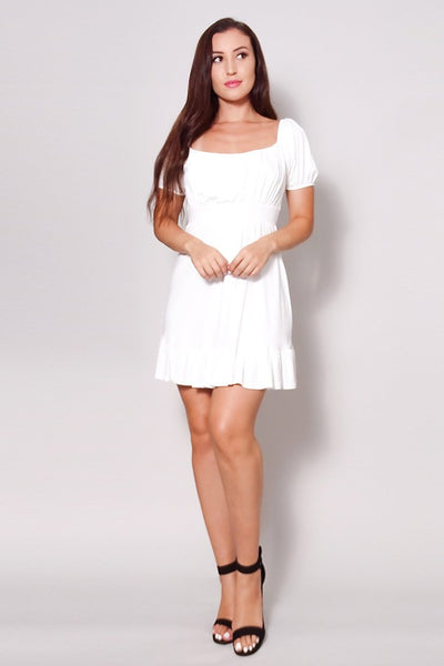 Puff Short Sleeve Tie Back Easy Summer Mini Dress