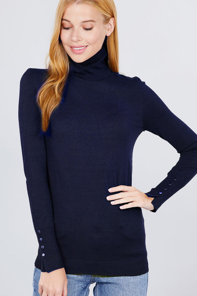 Long Sleeve With Metal Button Detail Turtle Neck Viscose Sweater