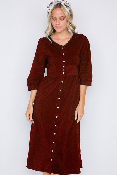 Corduroy 3/4 Sleeve Button Down Midi Dress