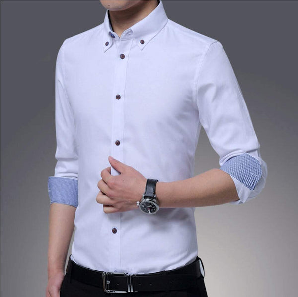 Mens Casual White Button Front Slim Fit Shirt