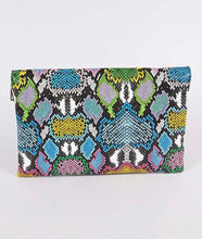 Load image into Gallery viewer, Multicolor Snakeskin Clutch