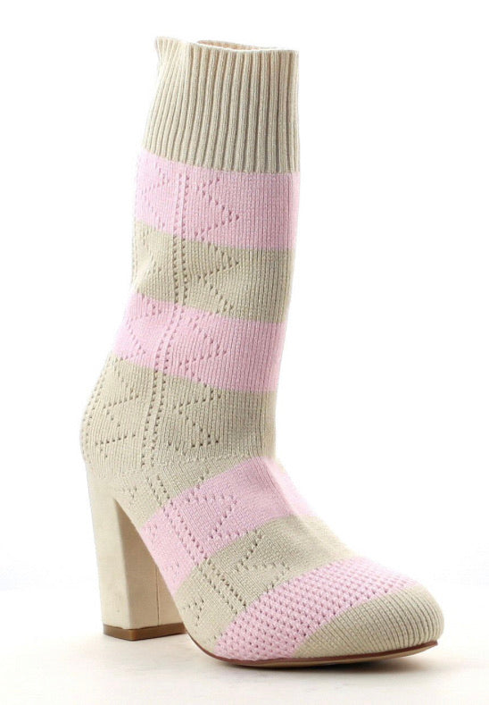 Perry-2 Pink & Cream Bootie