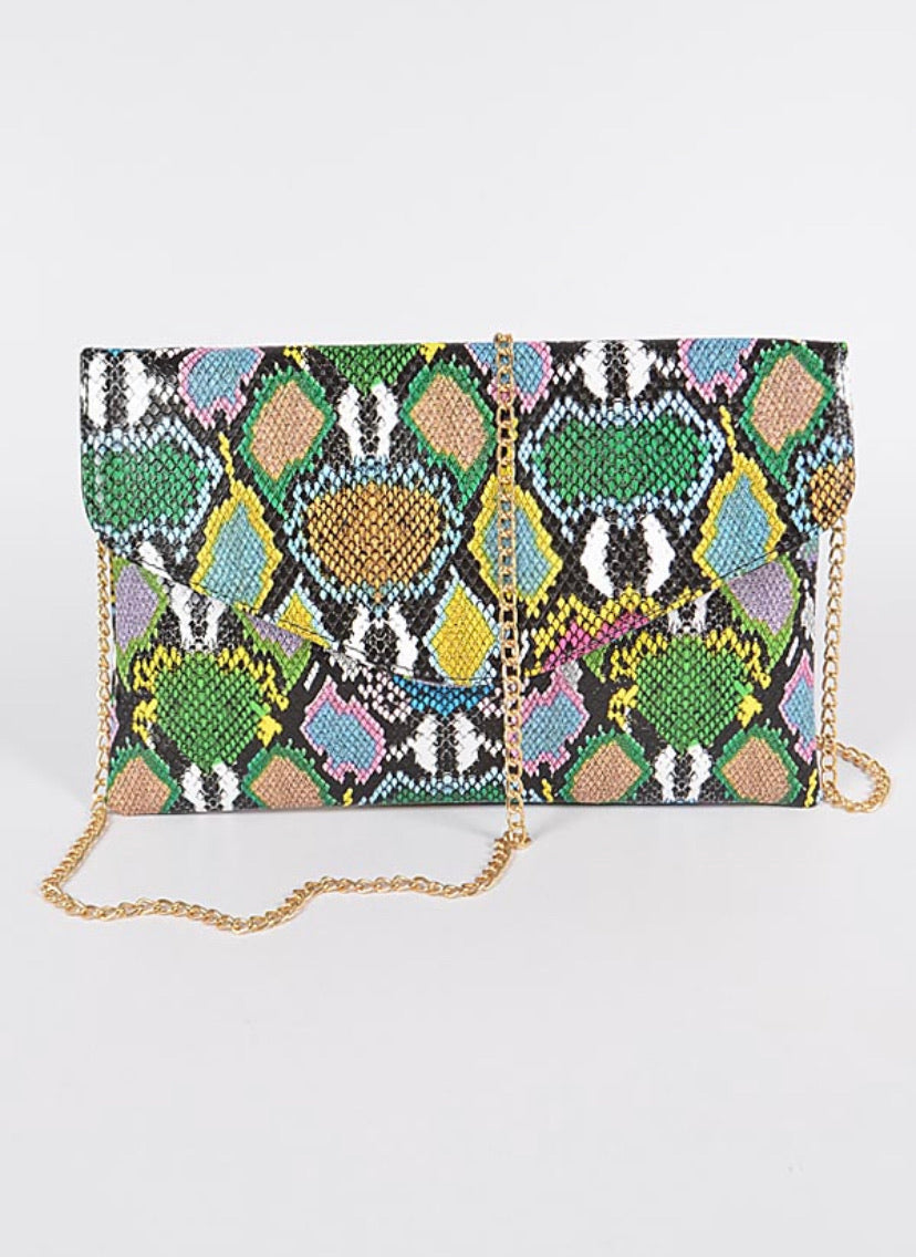 Multicolor Snakeskin Clutch