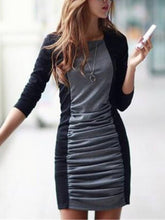 Load image into Gallery viewer, Block Long Sleeve Cotton Women's Sheath Dress
