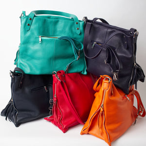 Asolo Orange, Red, Navy, Teal, Black Shoulder Tote Italian Leather Solo Perché