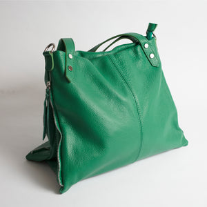 Asolo Green Shoulder Tote Italian Leather Solo Perché