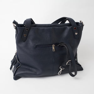 Asolo Navy Shoulder Tote Italian Leather Solo Perché