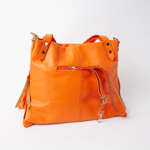 Asolo Orange Shoulder Tote Italian Leather Solo Perché