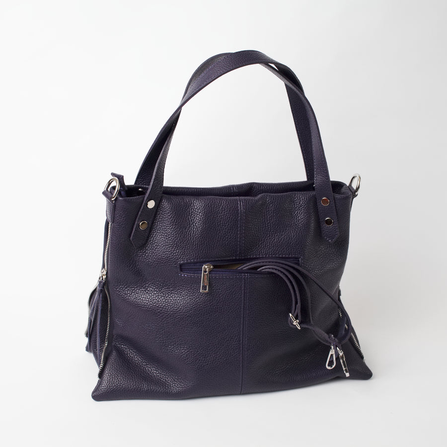 Asolo Purple Shoulder Tote Italian Leather Solo Perché