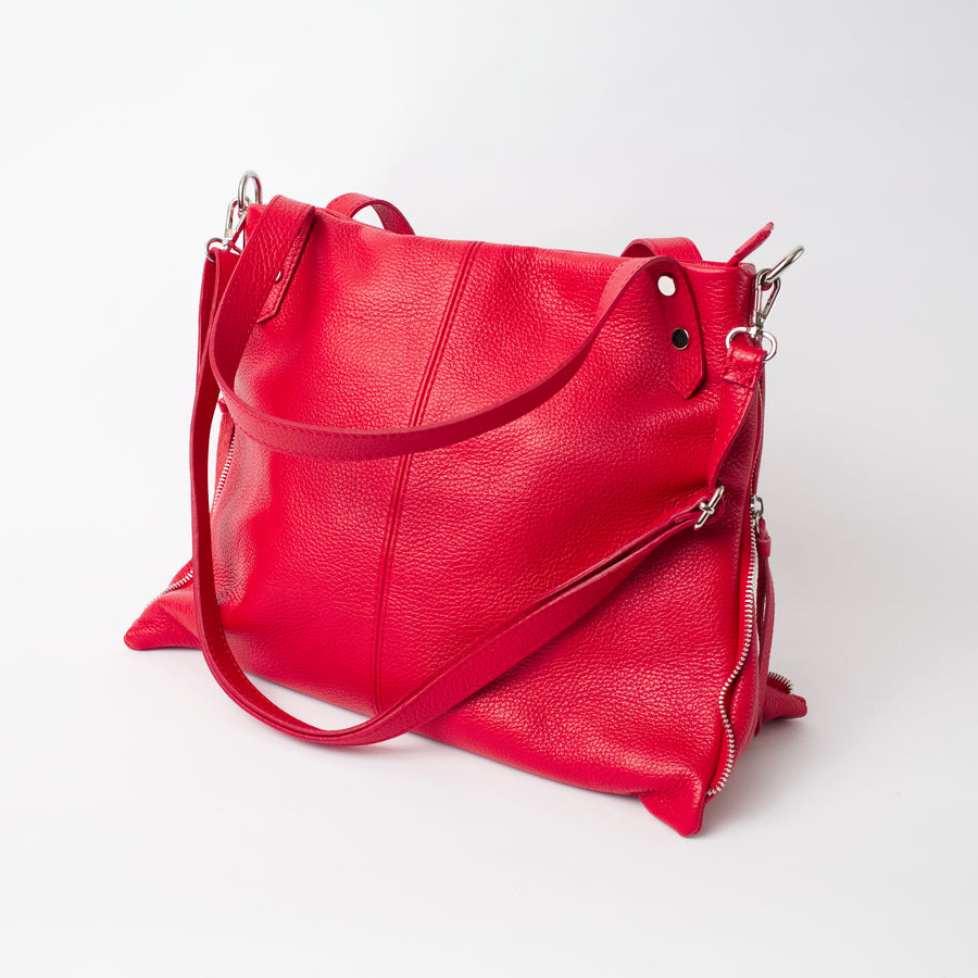 Asolo Red Shoulder Tote Italian Leather Solo Perché