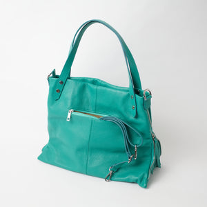 Asolo Teal Shoulder Tote Italian Leather Solo Perché