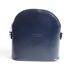 Bologna Navy Crossbody Bag Italian Leather Solo Perché