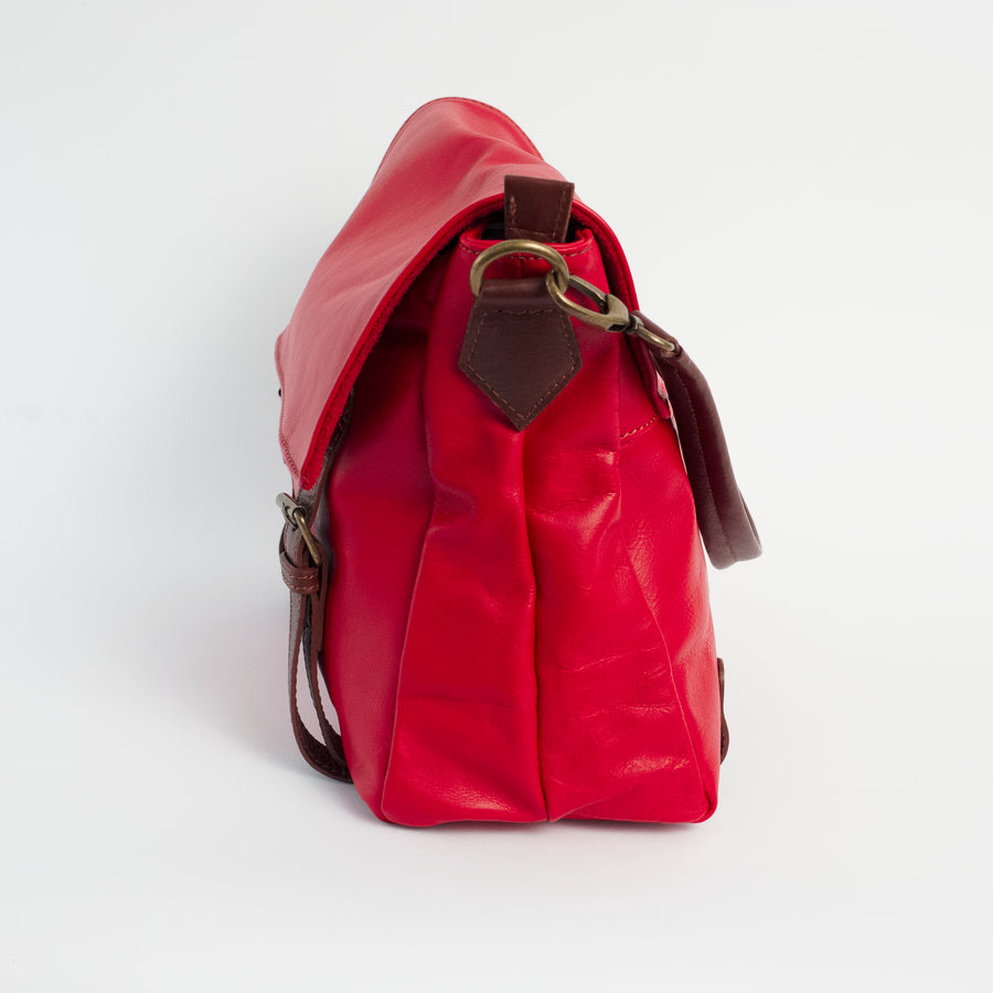 Cannara Red Italian Leather Shoulder Tote Solo Perché Bag