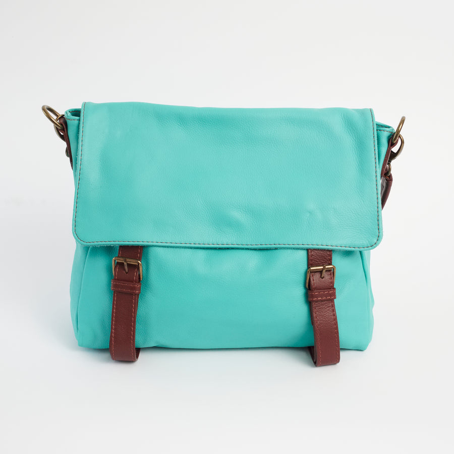 Cannara Teal Italian Leather Shoulder Tote Solo Perché Bag