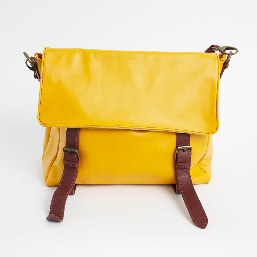 Cannara Yellow Brown Italian Leather Shoulder Tote Solo Perché Bag