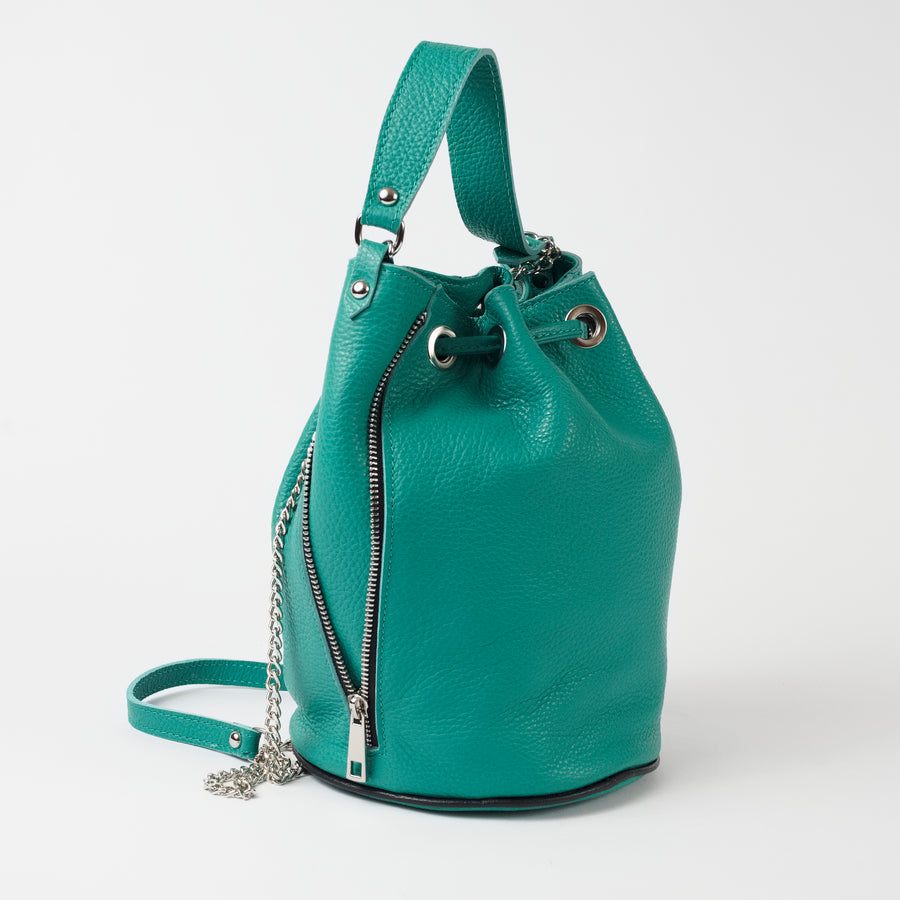 Cittadella Teal Italian Leather Shoulder Tote Solo Perché Bags