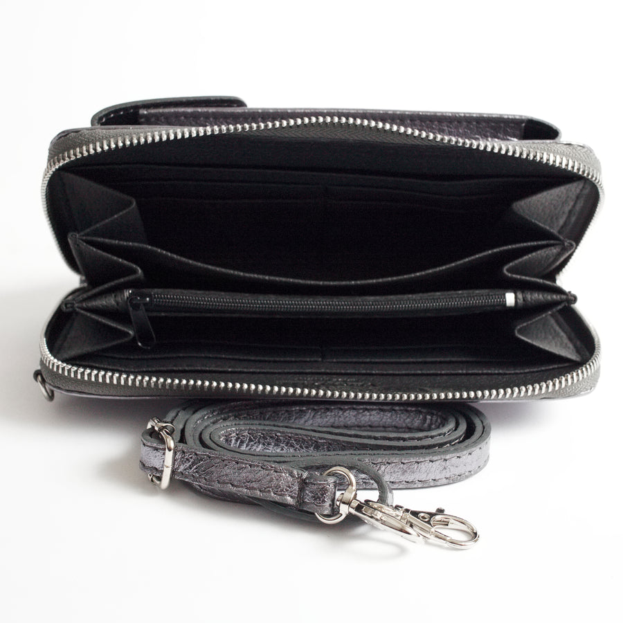 Esperia Pewter Mettallic Inside Italian Leather Accessories Solo Perché Bags