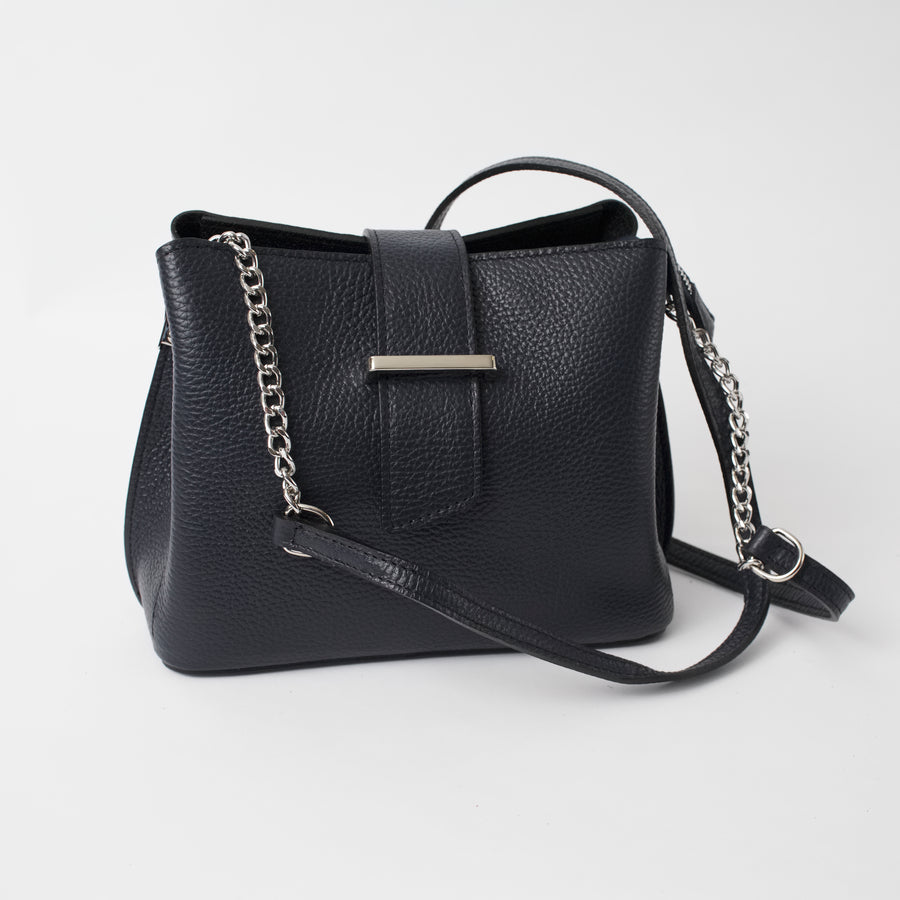 Ferrara Black Italian Leather Cross Body Bag Solo Perché Bags