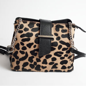Ferrara Cheetah Italian Leather Cross Body Bag Solo Perché Bags