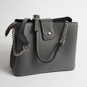 Ferrara Grey Italian Leather Cross Body Bag Solo Perché Bags