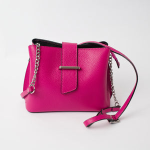 Ferrara Hot Pink Italian Leather Cross Body Bag Solo Perché Bags