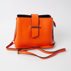Ferrara Orange Italian Leather Cross Body Bag Solo Perché Bags
