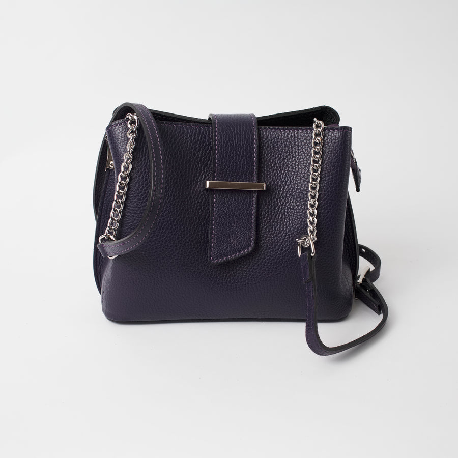 Ferrara Purple Italian Leather Cross Body Bag Solo Perché Bags