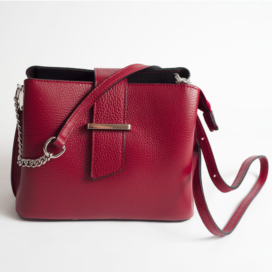 Ferrara Red Italian Leather Cross Body Bag Solo Perché Bags